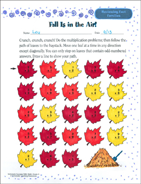Fall Is in the Air! (Reviewing Fact Families) - Printable Worksheet