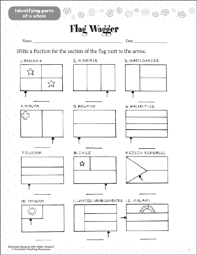Flag Wagger (Identifying Parts of a Whole) - Printable Worksheet