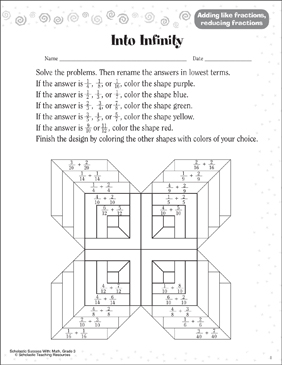 Into Infinity (Adding & Reducing Fractions) - Printable Worksheet