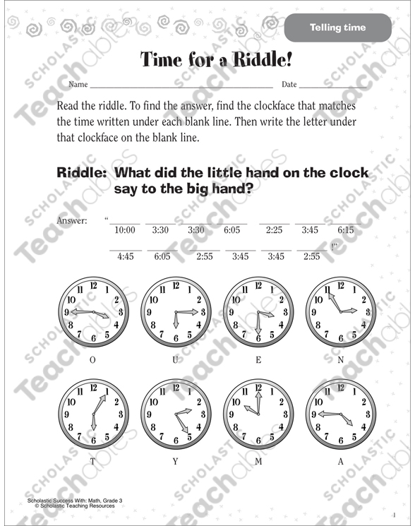 Time for a Riddle! (Telling Time) | Printable Skills Sheets