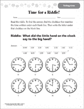 Time for a Riddle! (Telling Time) - Printable Worksheet