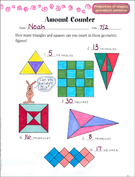 Amount Counter (Properties of Shapes) - Printable Worksheet