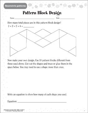 Pattern Block Design (Geometric Patterns) - Printable Worksheet