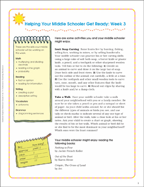 Week 3: Summer Express Between Grades 6 and 7 - Printable Worksheet