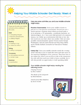 Week 4: Summer Express Between Grades 6 and 7 - Printable Worksheet