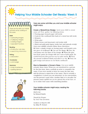 Week 5: Summer Express Between Grades 6 and 7 - Printable Worksheet