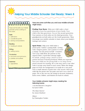 Week 8: Summer Express Between Grades 6 and 7 - Printable Worksheet