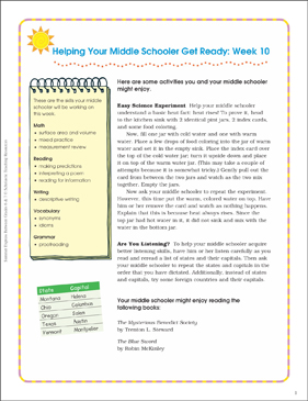 Week 10: Summer Express Between Grades 6 and 7 - Printable Worksheet