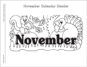 November Calendar and Calendar Symbols - Printable Worksheet