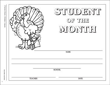 November Student-of-the-Month Certificate - Printable Worksheet
