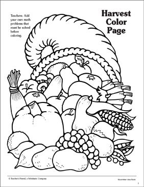 Harvest: Cornucopia Pattern | Printable Coloring Pages