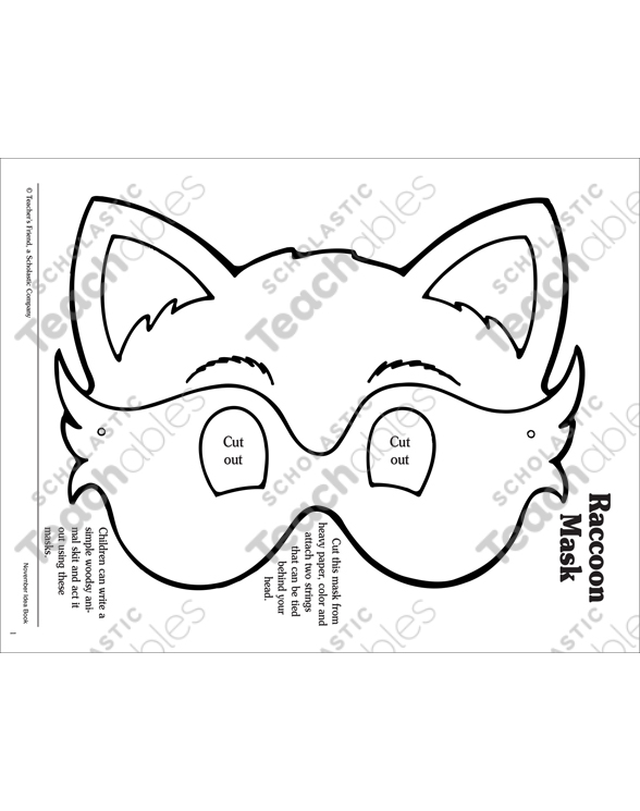 Raccoon: Mask Pattern | Printable Arts and Crafts