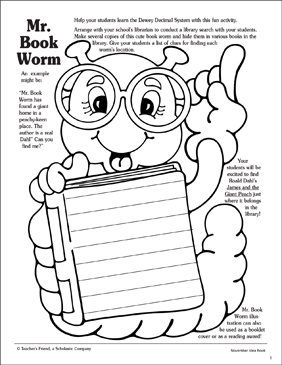 Mr. Bookworm - Printable Worksheet