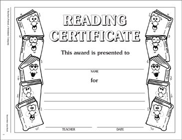 Reading Certificate: Incentive Award - Printable Worksheet