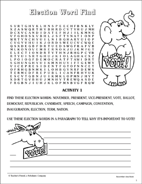 Election Word Find - Printable Worksheet