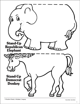 Stand-Up Republican Elephant and Democratic Donkey - Printable Worksheet