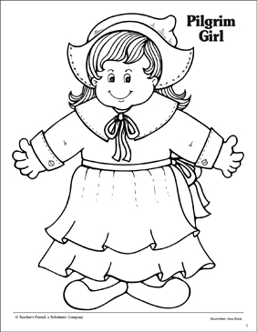 Pilgrim Girl with Hat - Printable Worksheet