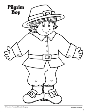 Pilgrim Boy With Hat Printable Coloring Pages