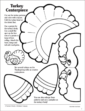 Turkey Centerpiece: Pattern - Printable Worksheet