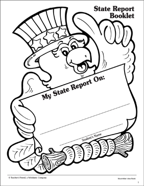 State Report Booklet: Report Template - Printable Worksheet