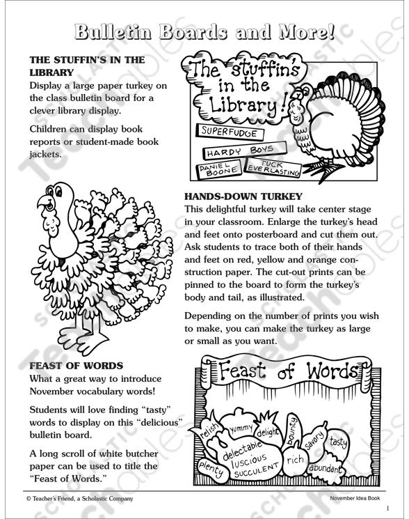 November Bulletin Boards And More Printable Skills Sheets