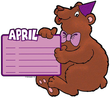 April Birthday Bear - Image Clip Art