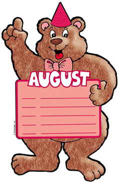 August Birthday Bear - Image Clip Art