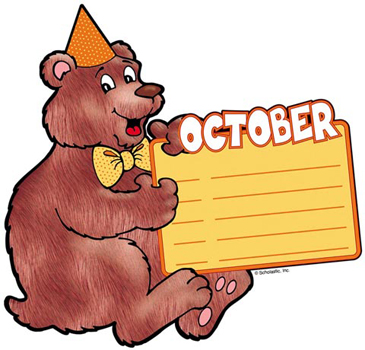 October Birthday Bear - Image Clip Art