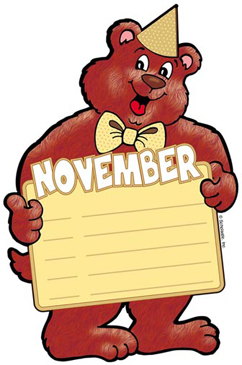 November Birthday Bear - Image Clip Art