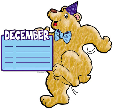 December Birthday Bear - Image Clip Art