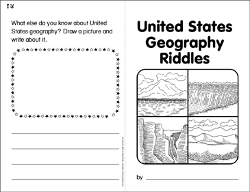 United States Geography Riddles: Write & Read Book - Printable Worksheet