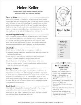 Helen Keller: Literacy-Building Booklet - Printable Worksheet