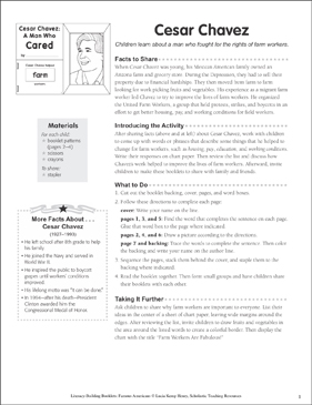 Cesar Chavez: Literacy-Building Booklet - Printable Worksheet