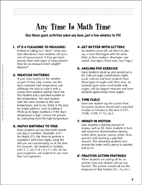 Any Time Is Math Time: Grade 4 Activities - Printable Worksheet