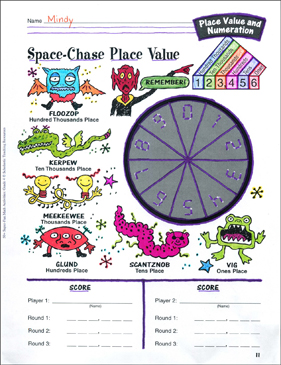Space-Chase Place Value Game: Place Value and Numeration Activity - Printable Worksheet