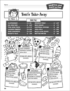 Toni's Take-Away: Adding & Subtracting Money Activity - Printable Worksheet