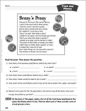 Benny's Penny (Money Poem): Time and Money Activity - Printable Worksheet