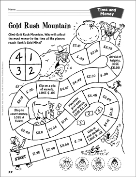 Gold Rush Mountain (Money Game): Time and Money Activity - Printable Worksheet