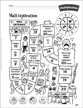 Mall-tiplication (Shopping Game): Multiplication Activity - Printable Worksheet
