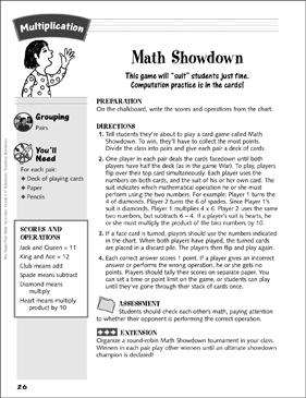 Math Showdown (card game): Multiplication Activity - Printable Worksheet