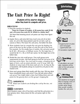 The Unit Price Is Right!: Division Activity - Printable Worksheet