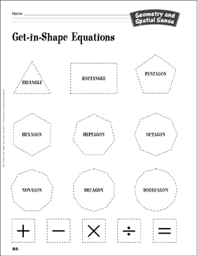 Get-in-Shape Equations: Geometry Activity - Printable Worksheet