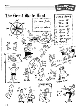 The Great Skate Hunt (Directions & Measurement): Geometry and Spatial Sense Activity - Printable Worksheet