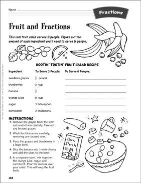 Fruit and Fractions (recipe): Fractions Activity - Printable Worksheet