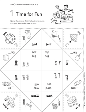 Initial Consonants (b, t, w, y): Fun-Flaps Phonics Manipulative - Printable Worksheet