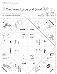 Initial Vowels (a, e, i, o): Fun-Flaps Phonics Manipulative - Printable Worksheet