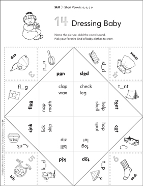 Short Vowels (a, e, i, o): Fun-Flaps Phonics Manipulative - Printable Worksheet