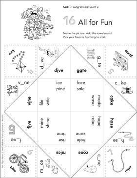Long Vowels (Silent e): Fun-Flaps Phonics Manipulative - Printable Worksheet