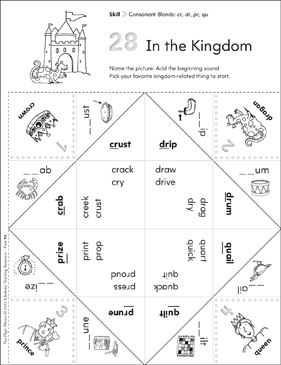 Consonant Blends (cr, dr, pr, qu): Fun-Flaps Phonics Manipulative - Printable Worksheet