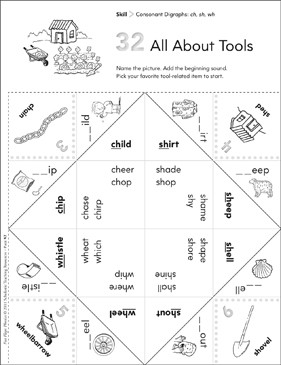 Consonant Digraphs (ch, sh, wh): Fun-Flaps Phonics Manipulative - Printable Worksheet
